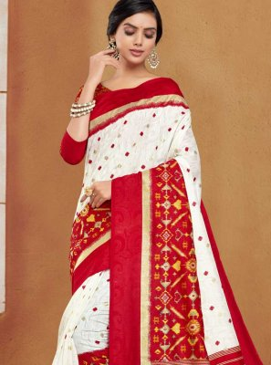 Silk Woven Off White and Red Traditional Designer Saree