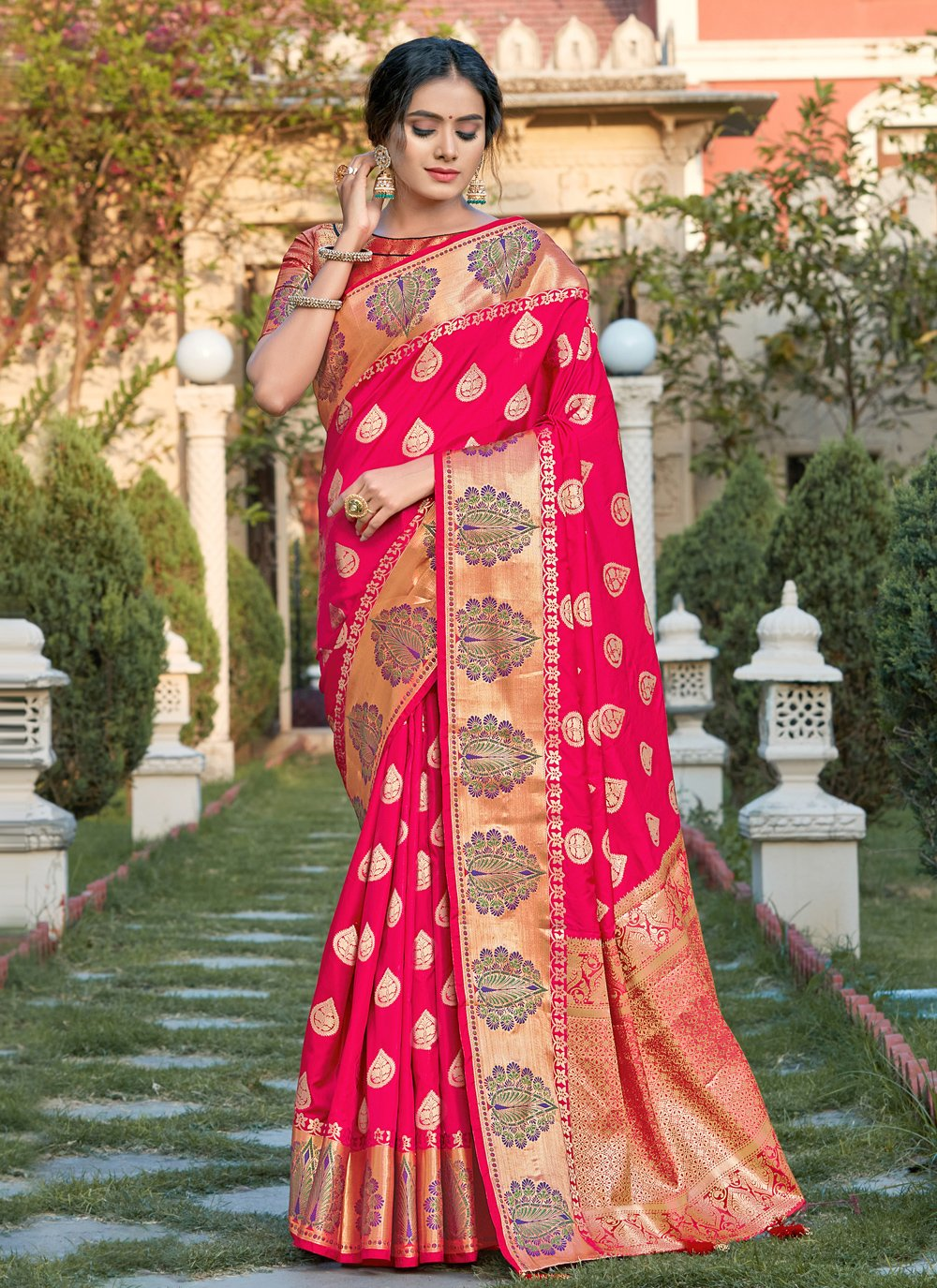 Silk Woven Traditional Designer Saree in Hot Pink