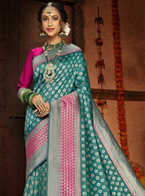 Silk Woven Traditional Designer Saree in Sea Green