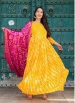 Silk Yellow Fancy Readymade Suit