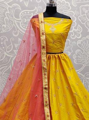 Silk Yellow Sequins Lehenga Choli