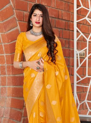 Silk Yellow Traditional Designer Saree