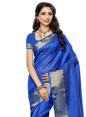 Silk Zari Blue Traditional Saree