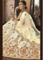 Silk Zari Lehenga Choli in Beige