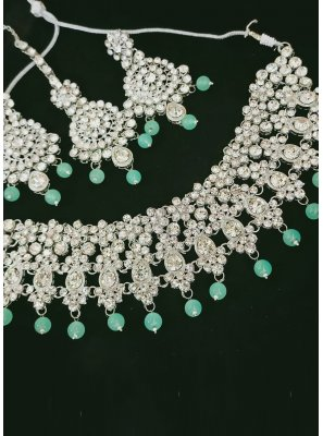 Silver and Turquoise Party Necklace Set