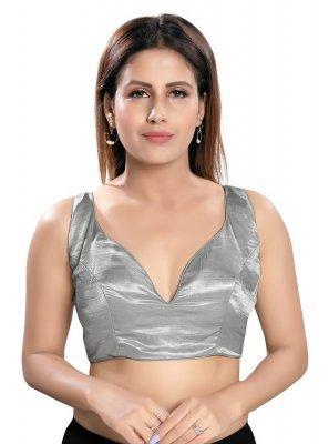 Silver Mehndi Designer Blouse