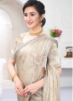 Silver Satin Trendy Saree