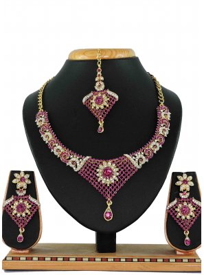 Silver Zardosi Gold Necklace Set