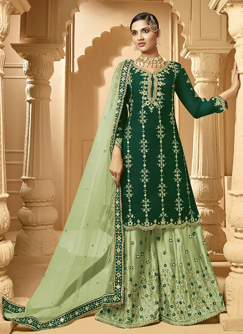 Stone Faux Georgette Designer Palazzo Suit in Green