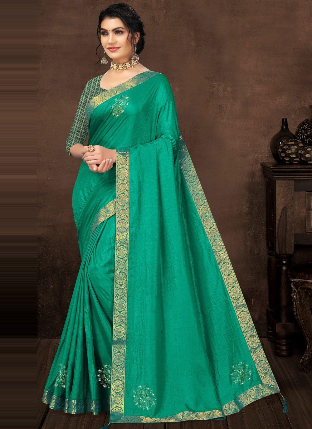 Stone Green Silk Classic Saree