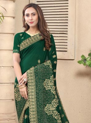 Stone Green Silk Designer Saree