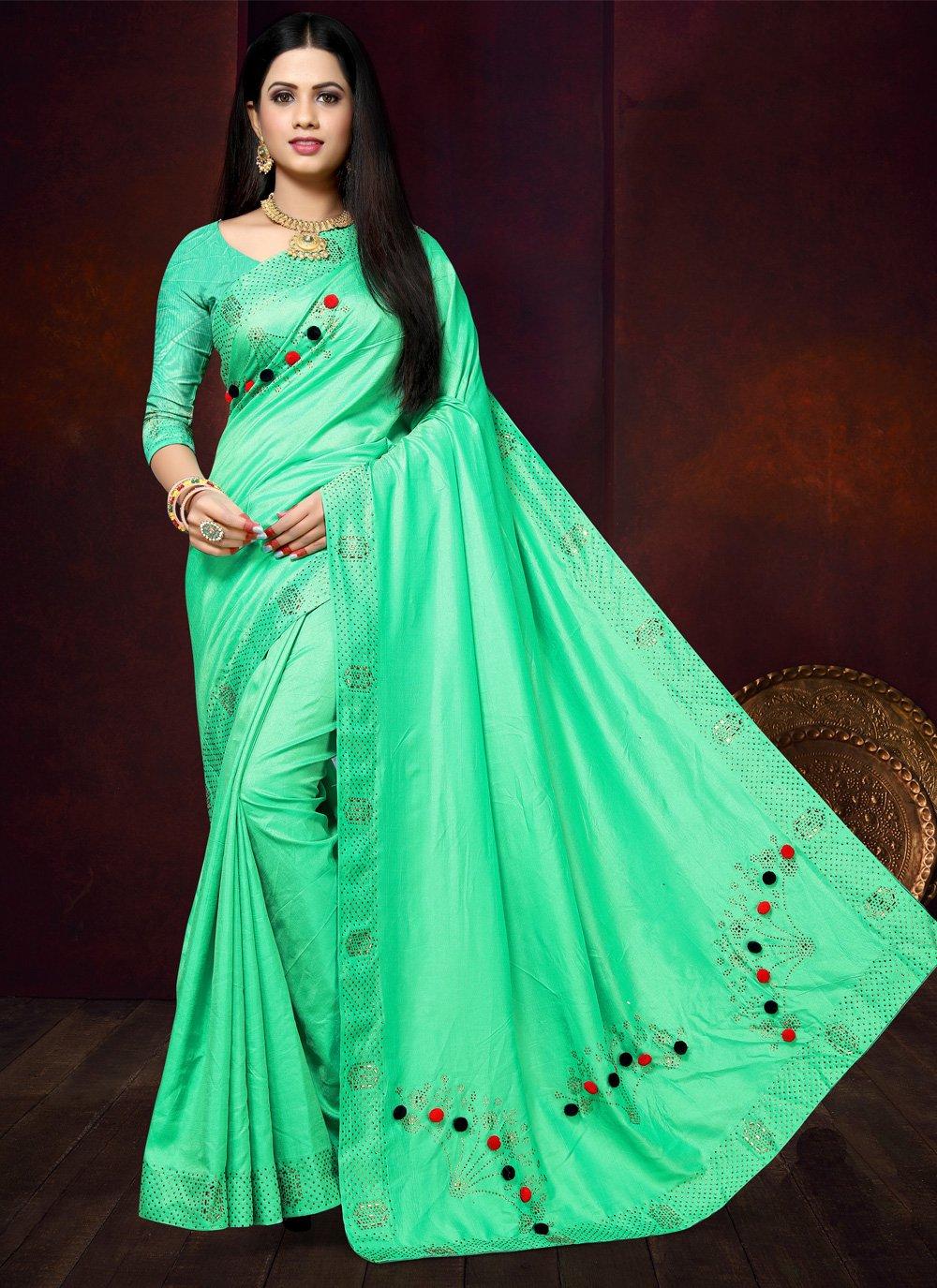 Stone Green Traditional Saree