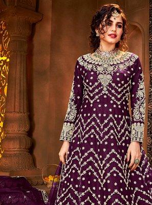 Stone Net Floor Length Anarkali Suit