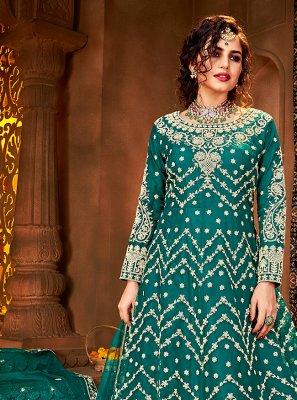 Stone Net Rama Floor Length Anarkali Suit