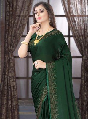 Stone Satin Classic Saree in Green