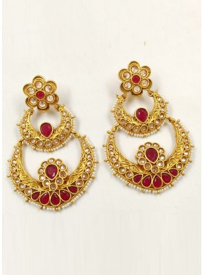 Stone Work Ear Rings in Gold and Maroon