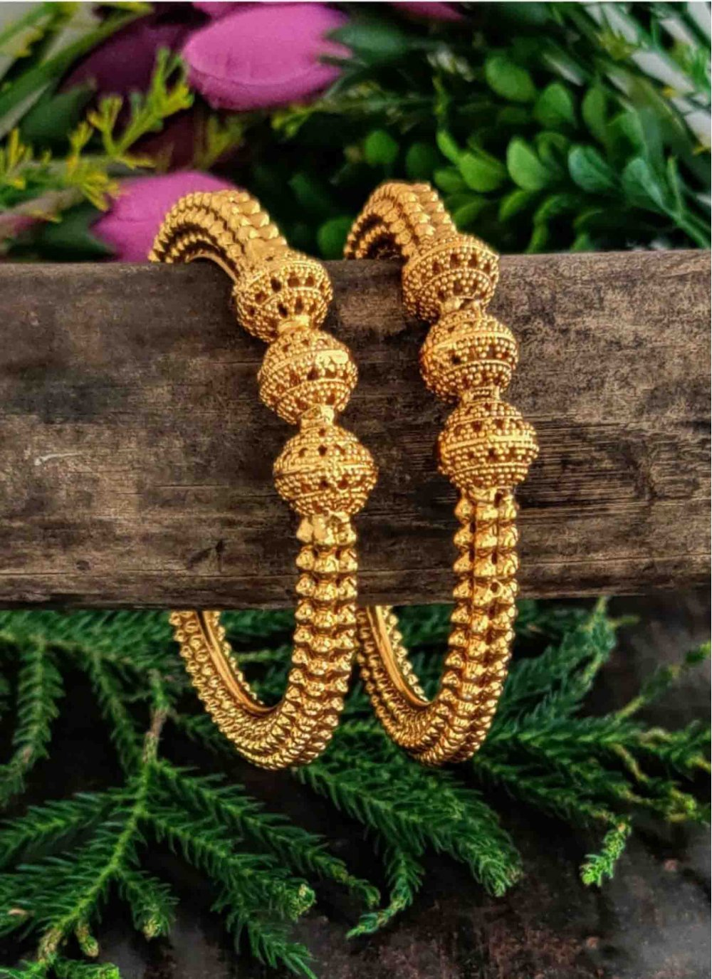 Stone Work Gold Bangles