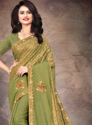Stone Work Green Silk Designer Saree