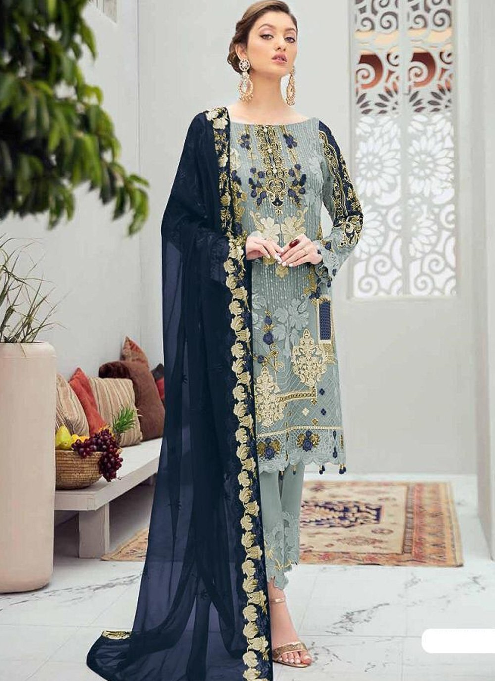 Stone Work Grey Net Designer Pakistani Salwar Suit