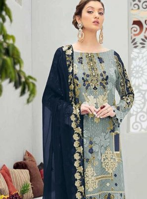 Stone Work Grey Net Designer Pakistani Salwar Suit