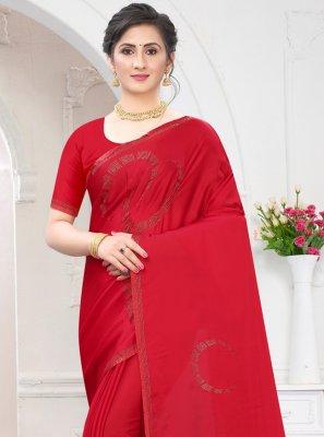 Stone Work Satin Red Trendy Saree