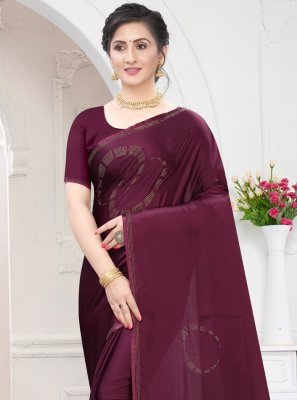 Stone Work Satin Traditional Saree in Wine