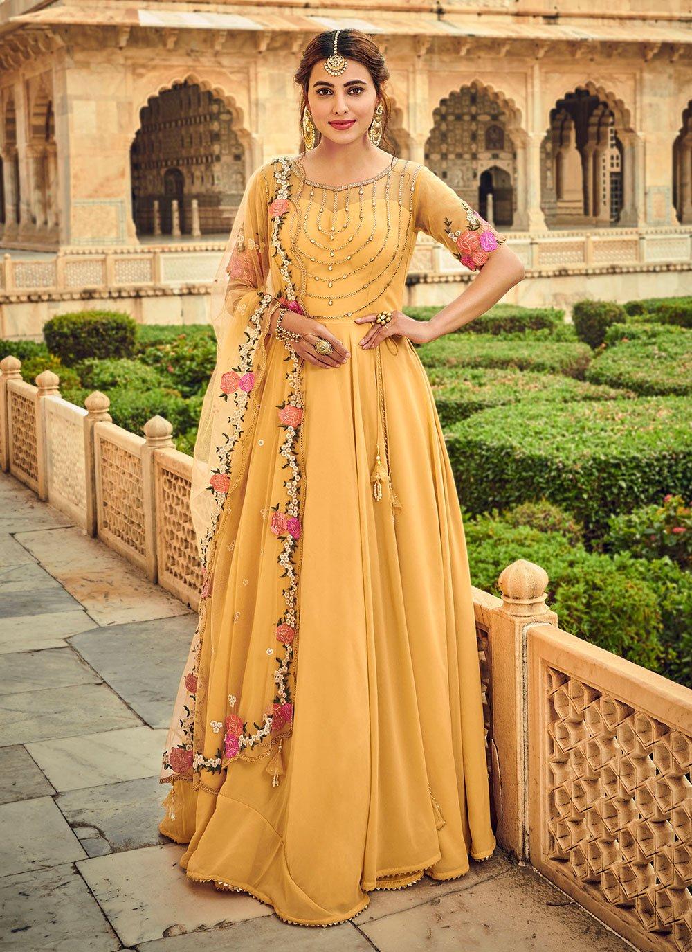 Stone Yellow Salwar Kameez