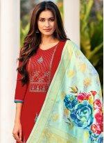 Straight Salwar Kameez Embroidered Cotton in Maroon