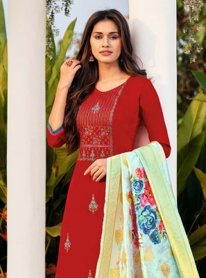 Straight Salwar Kameez Embroidered Cotton in Maroon