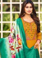 Straight Salwar Kameez Embroidered Cotton in Mustard