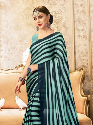 Stripe Print Blue Faux Chiffon Printed Saree