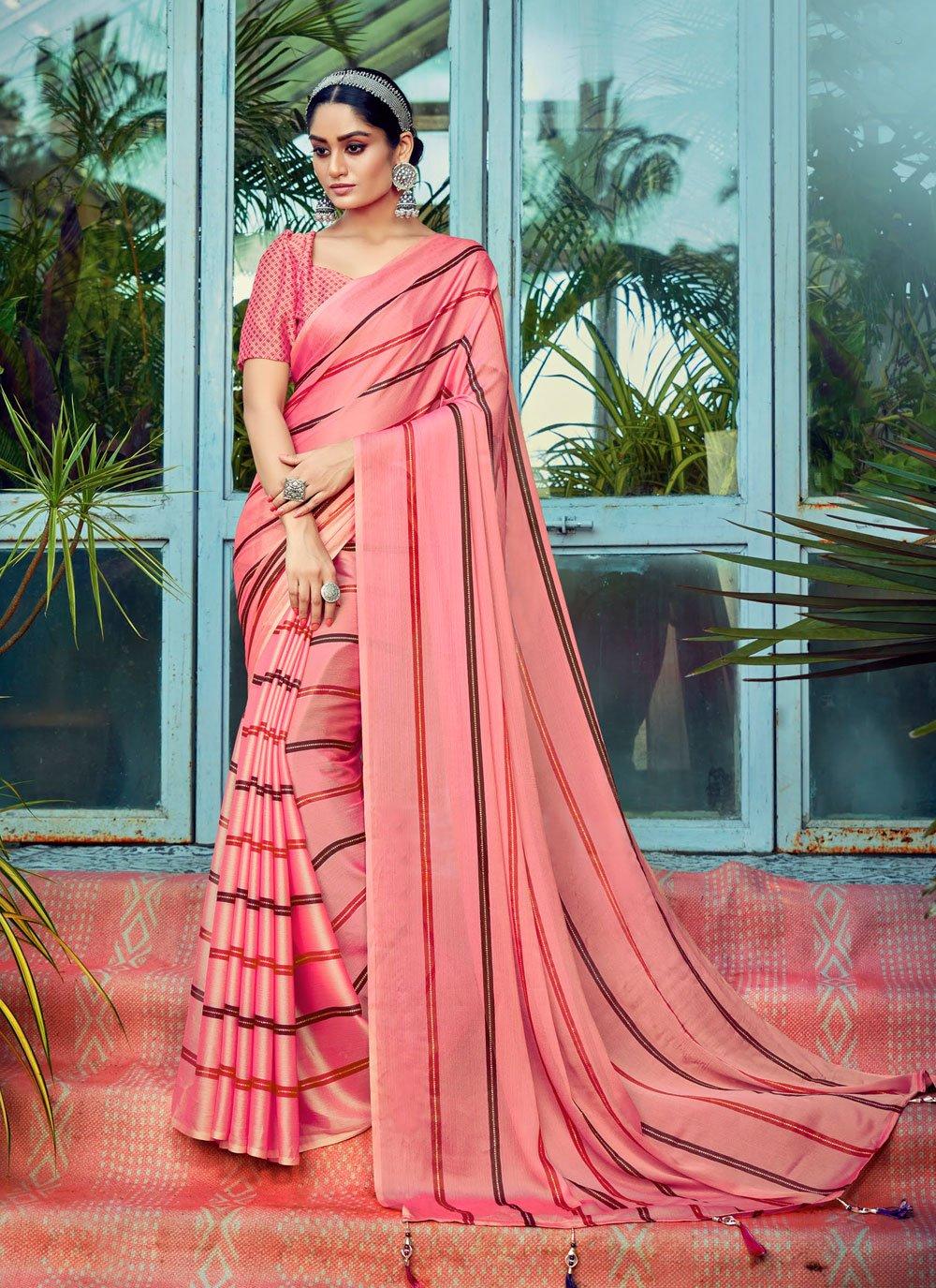 Stripe Print Faux Chiffon Printed Saree in Pink