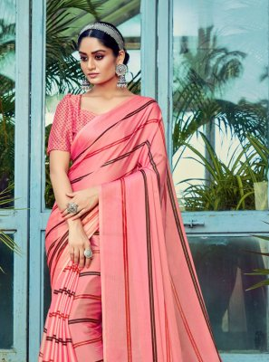 Stripe Print Faux Chiffon Printed Saree in Pink