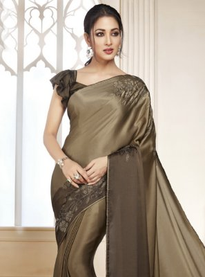 Swarovski Brown Satin Shaded Saree