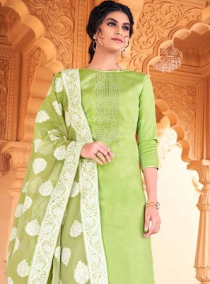 Swarovski Cotton Designer Palazzo Salwar Suit in Green