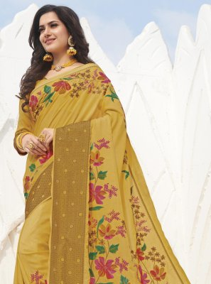 Swarovski Mustard Traditional Saree