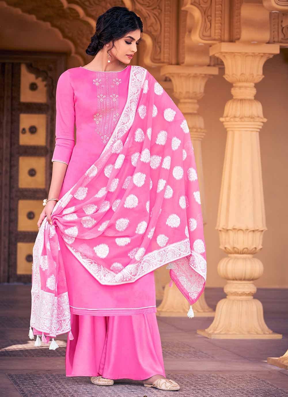 Swarovski Pink Palazzo Designer Salwar Kameez