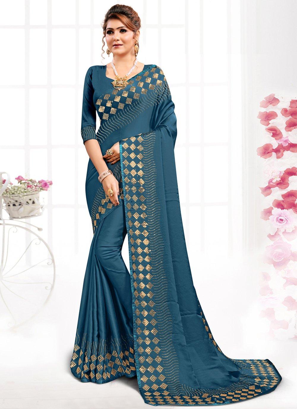 Swarovski Satin Blue Designer Saree