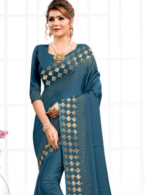 Swarovski Satin Blue Designer Saree