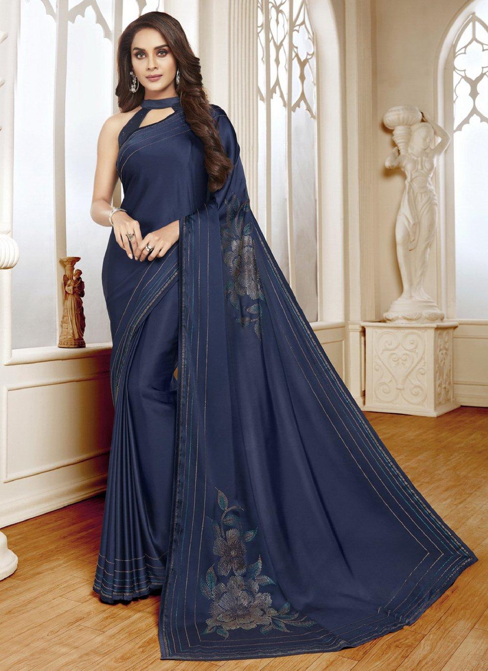 Swarovski Satin Navy Blue Classic Designer Saree
