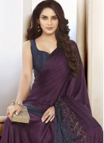 Swarovski Satin Trendy Saree in Purple