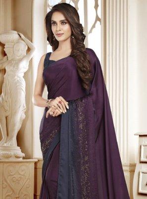 Swarovski Satin Trendy Saree in Purple
