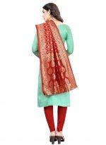Tafeta Silk Aqua Blue Fancy Churidar Salwar Suit