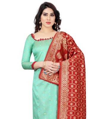 Tafeta Silk Aqua Blue Fancy Churidar Salwar Suit