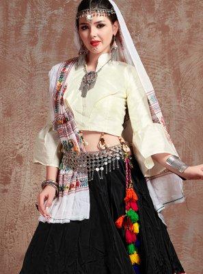 Tafeta Silk Black and Off White Fancy Lehenga Choli