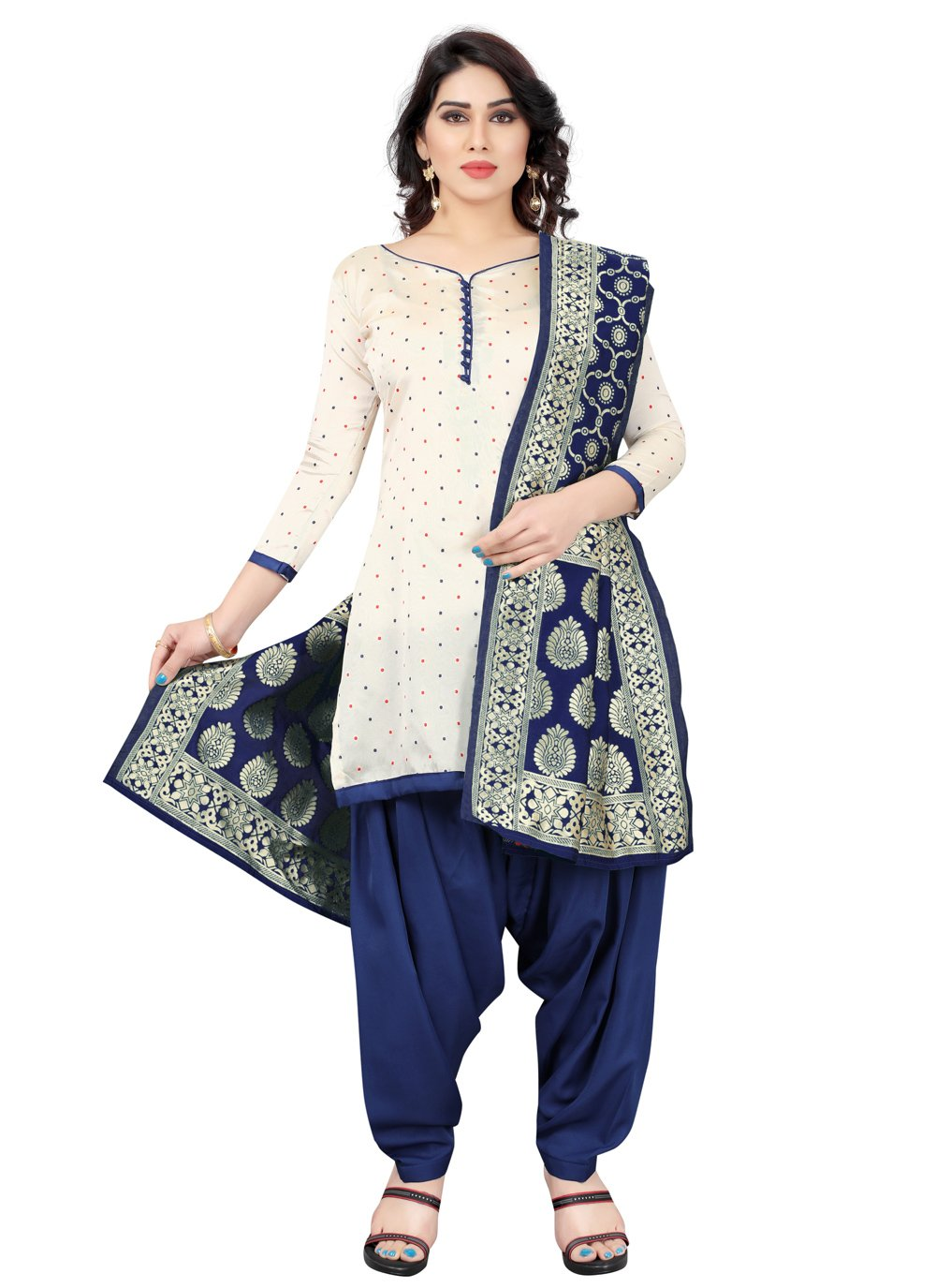 Tafeta Silk Blue and Off White Fancy Designer Patiala Suit