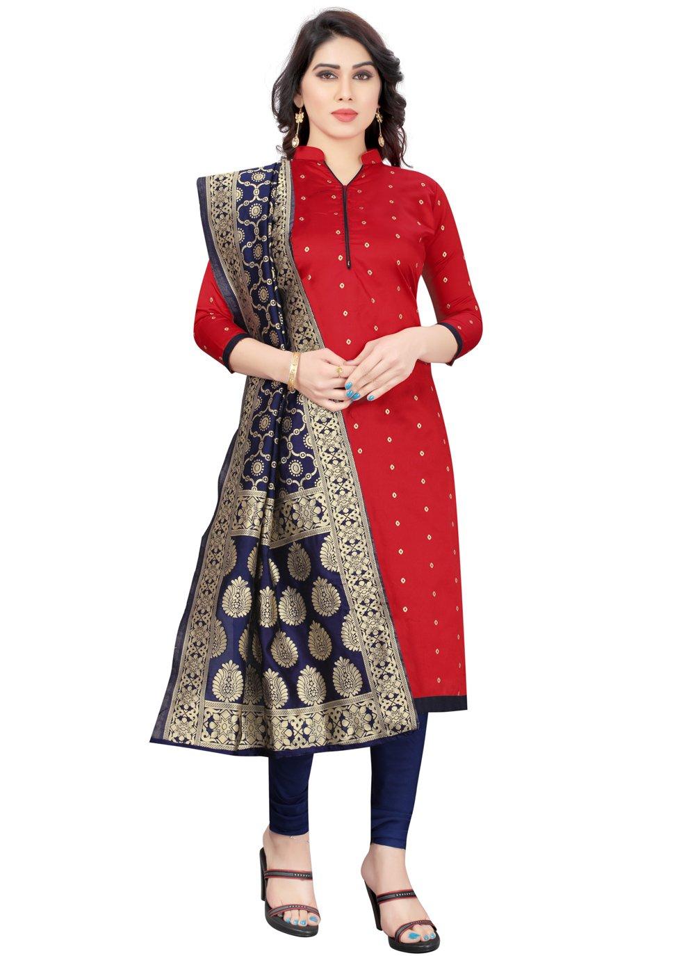 Tafeta Silk Churidar Designer Suit in Red