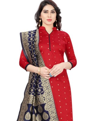 Tafeta Silk Churidar Designer Suit in Red