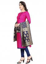 Tafeta Silk Churidar Salwar Suit in Hot Pink
