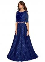 Tafeta Silk Designer Gown in Blue